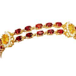 14k Yellow Gold 16.13ct Sapphire 1.81ct Diamond Bracelet
