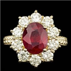 14K Yellow Gold 3.78ct Ruby and 2.12ct Diamond Ring