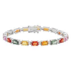 18K White Gold 14.09ct Fancy Color Sapphire 0.94ct Diamond Bracelet