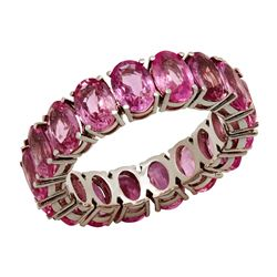 14k White Gold 10.16ct Pink Sapphire Eternity Band Ring