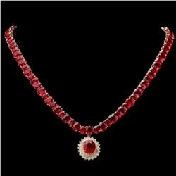 14K Yelloow Gold 102.37ct Ruby and 1.61ct Diamond Necklace