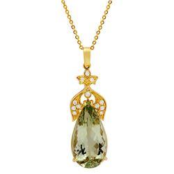 14k Yellow Gold 23.10ct Green Quartz 0.42ct Diamond Pendant