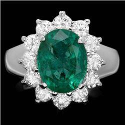 14K White Gold 3.47ct Emerald and 1.02ct Diamond Ring