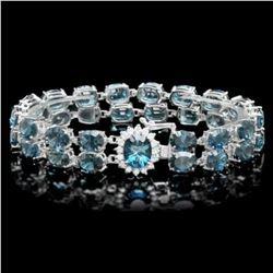 14K Gold 48.69ct Blue Topaz 0.57ct Diamond Bracelet