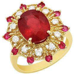 14k Yellow Gold 5.89ct & 0.53ct Ruby 0.42ct Diamond Ring