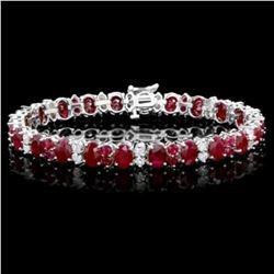 14K Gold 27.83ct Ruby 2.38ct Diamond Bracelet