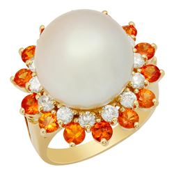 14k Yellow Gold 14mm Pearl 1.74ct Sapphire 0.72ct Diamond Ring