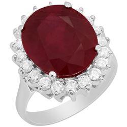 14k White Gold 9.65ct Ruby 0.93ct Diamond Ring