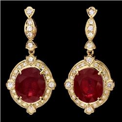 14K Yellow Gold 21.36ct Ruby and 1.32ct Diamond Earrings