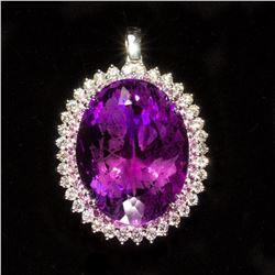 14K Gold Amethyst  Pink Sapphire and Diamond Pendant