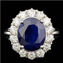 14K White Gold 5.32ct Sapphire and 1.48ct Diamond Ring