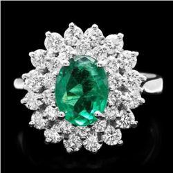 14K White Gold 1.47ct Emerald and 1.32ct Diamond Ring