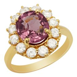 14k Yellow Gold 3.46ct Spinel 1.23ct Diamond Ring