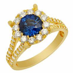 14k Yellow Gold 1.18ct Lab Created Sapphire 1.14ct Diamond Ring