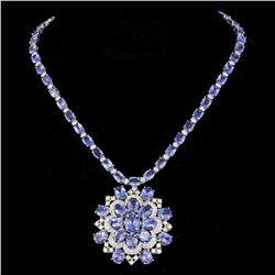 14K White Gold 52.90ct Tanzanite and 5.14ct Diamond Necklace