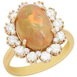 14k Yellow Gold 3.16ct Ethiopian Opal 1.18ct Diamond Ring