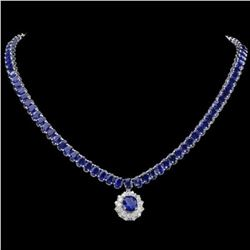 14K White Gold 50.87ct Sapphire and 1.47ct Diamond Necklace