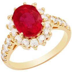 14k Yellow Gold 3.37ct Ruby 0.99ct Diamond Ring