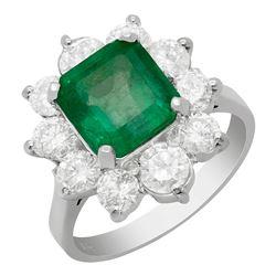 14k White Gold 3.51ct Emerald 1.99ct Diamond Ring