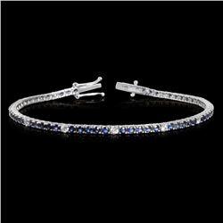 14k White Gold 3.99ct Sapphire 0.88ct Diamond Bracelet