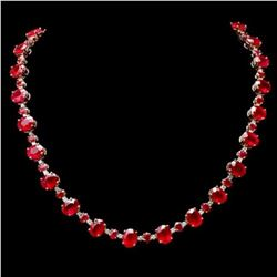14K Yellow Gold 68.85ct Ruby and 1.82ct Diamond Necklace