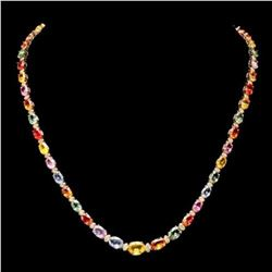 14K Yellow Gold 28.60ct Fancy Color Sapphire and 1.15ct Diamond Necklace