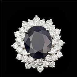 14K White Gold 7.41ct Sapphire and 2.63ct Diamond Ring