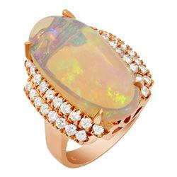 14k Rose Gold 8.91ct Opal 1.09ct Diamond Ring