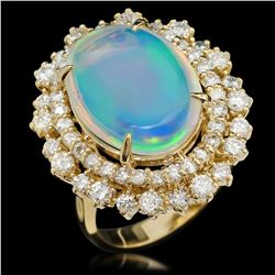 14K Yellow Gold 6.52ct Opal and 1.79ct Diamond Ring