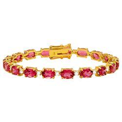 14k Yellow Gold 17.20ct Pink Tourmaline 0.96ct Diamond Bracelet