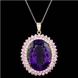 14K Gold 50.10ct Amethyst 4.03ct Sapphire 2.45ct Diamond Pendant