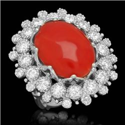 14K White Gold 12.92ct Coral and 2.50ct Diamond Ring