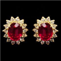 14k Yellow Gold 3.74ct Ruby 0.70ct Diamond Earrings