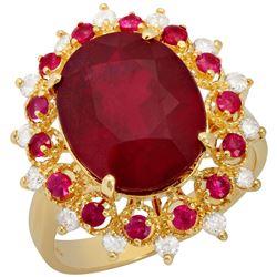 14k Yellow Gold 9.45ct & 0.46ct Ruby 0.38ct Diamond Ring