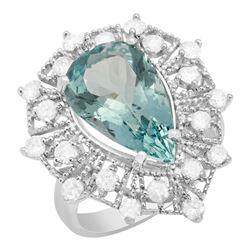 14k White Gold 5.73ct Aquamarine 1.05ct Diamond Ring