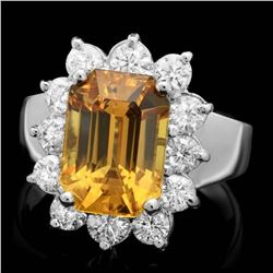 14K White Gold 6.42ct Sapphire and 1.08ct Diamond Ring