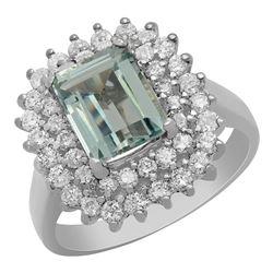 14k White Gold 2.03ct Aquamarine 1.12ct Diamond Ring