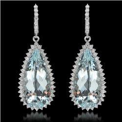 14K Gold 39.87ct Aquamarine & 2.36ct Diamond Earrings