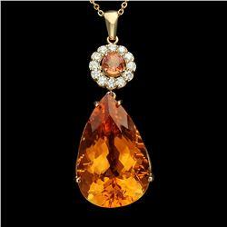 14K Gold 42.91ct Citrine 1.17ct Sapphire 1.02ct Diamond Pendant