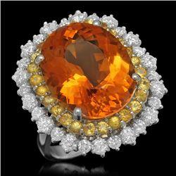 14K White Gold 10.62ct Citrine 0.98ct Sapphire and 1.34ct Diamond Ring