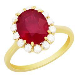 14k Yellow Gold 3.71ct Ruby 0.53ct Diamond Ring