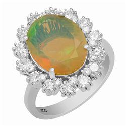 14k White Gold 2.58ct Opal 1.32ct Diamond Ring