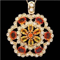14K Gold 7.13ct Sapphire and 1.34ct Diamond Pendant