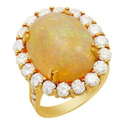 14k Yellow Gold 8.41ct Opal 2.61ct Diamond Ring