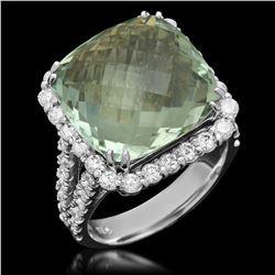 14K White Gold 11.29ct Praseolite Quartz and 1.52ct Diamond Ring