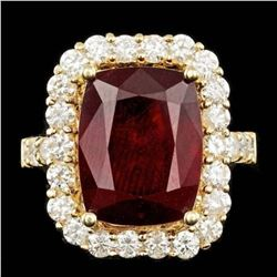 14K Yellow Gold 11.69ct Ruby and 1.88ct Diamond Ring