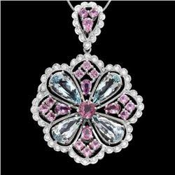 14K Gold 11.85ct Aquamarine 1.56ct Spinel 4.99ct Sapphire and 1.39ct Diamond Pendant