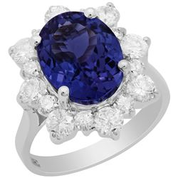 14k White Gold 4.68ct Tanzanite 1.51ct Diamond Ring