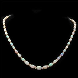 14K Yellow Gold 17.81ct Opal and 1.12ct Diamond Necklace