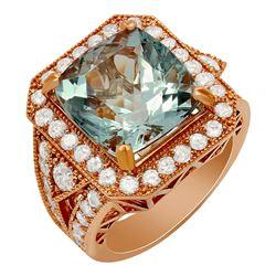 14k Rose Gold 9.48ct Aquamarine 2.10ct Diamond Ring